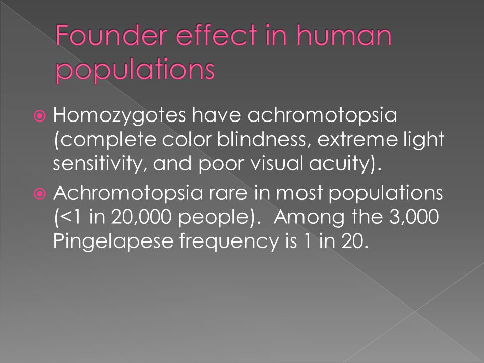  Homozygotes have achromotopsia (complete color blindness, extreme light sensitivity, and poor visual acuity).
