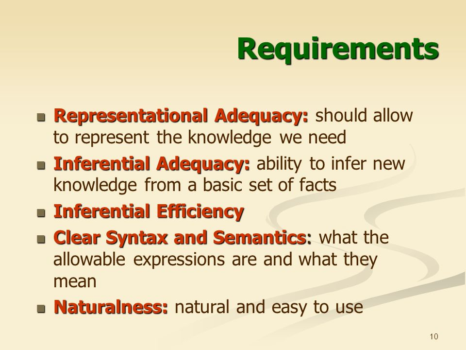 10 Requirements Representational Adequacy: Representational Adequacy: should allow to represent the knowledge we need Inferential Adequacy: Inferential Adequacy: ability to infer new knowledge from a basic set of facts Inferential Efficiency Inferential Efficiency Clear Syntax and Semantics: Clear Syntax and Semantics: what the allowable expressions are and what they mean Naturalness: Naturalness: natural and easy to use