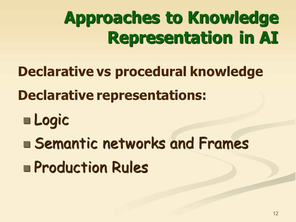 12 Approaches to Knowledge Representation in AI Logic Logic Semantic networks and Frames Semantic networks and Frames Production Rules Production Rules Declarative vs procedural knowledge Declarative representations: