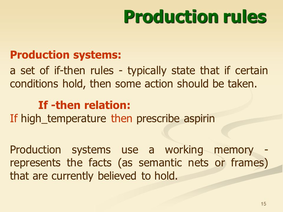 15 Production rules Production systems: a set of if-then rules - typically state that if certain conditions hold, then some action should be taken.