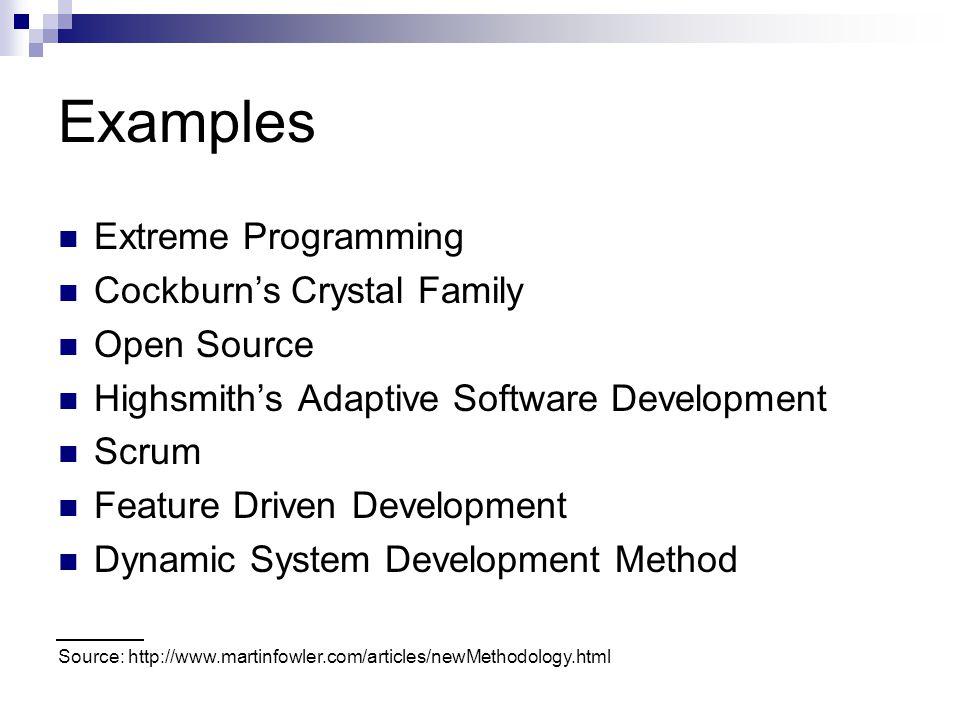 Examples Extreme Programming Cockburn's Crystal Family Open Source Highsmith's Adaptive Software Development Scrum Feature Driven Development Dynamic System Development Method Source: http://www.martinfowler.com/articles/newMethodology.html