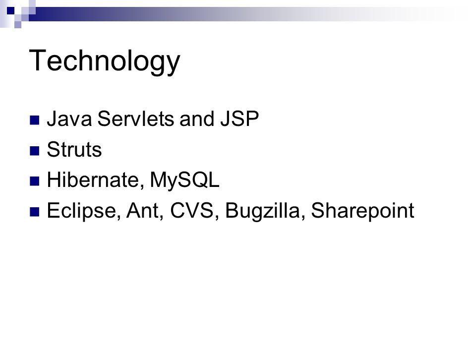 Technology Java Servlets and JSP Struts Hibernate, MySQL Eclipse, Ant, CVS, Bugzilla, Sharepoint