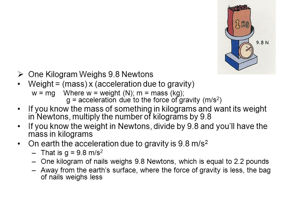 If a woman has a mass of 50 kg, what is her weight in newtons.