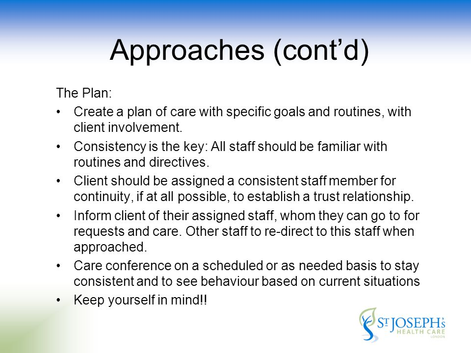 The Plan: Create a plan of care with specific goals and routines, with client involvement.