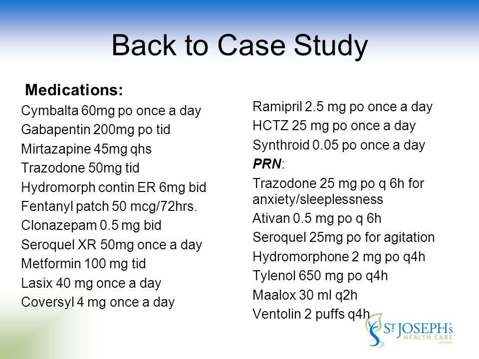 Back to Case Study Medications: Ramipril 2.5 mg po once a day HCTZ 25 mg po once a day Synthroid 0.05 po once a day PRN: Trazodone 25 mg po q 6h for anxiety/sleeplessness Ativan 0.5 mg po q 6h Seroquel 25mg po for agitation Hydromorphone 2 mg po q4h Tylenol 650 mg po q4h Maalox 30 ml q2h Ventolin 2 puffs q4h Cymbalta 60mg po once a day Gabapentin 200mg po tid Mirtazapine 45mg qhs Trazodone 50mg tid Hydromorph contin ER 6mg bid Fentanyl patch 50 mcg/72hrs.