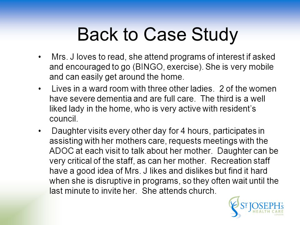 Back to Case Study Mrs.