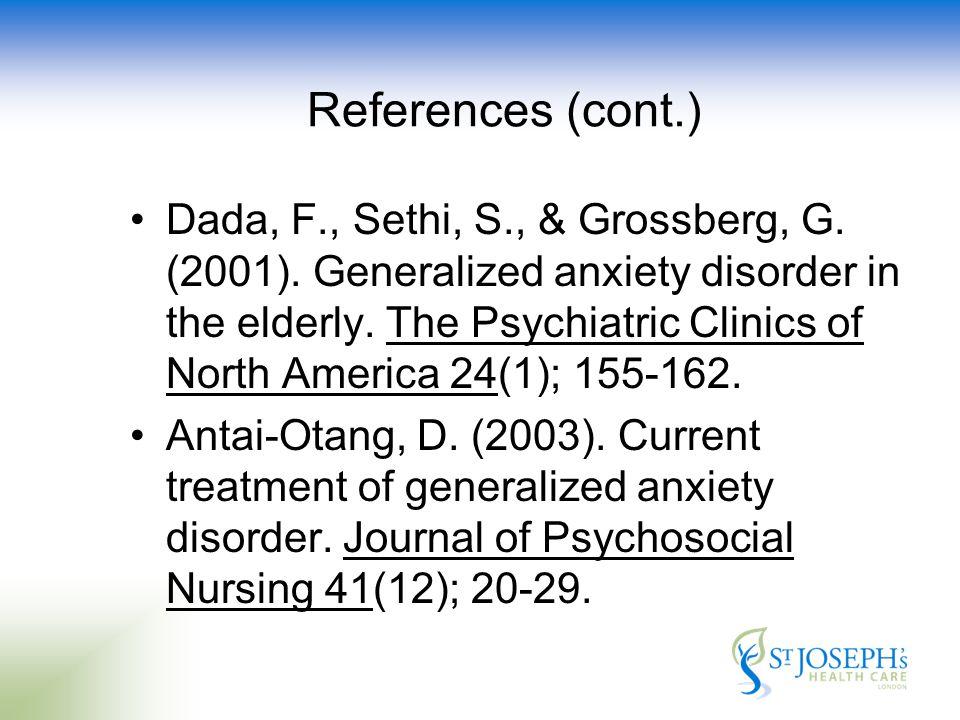 References (cont.) Dada, F., Sethi, S., & Grossberg, G.