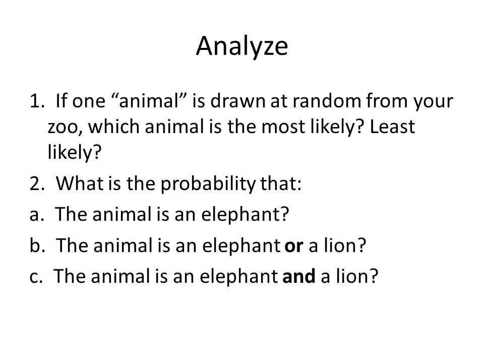 Analyze 1. If one animal is drawn at random from your zoo, which animal is the most likely.