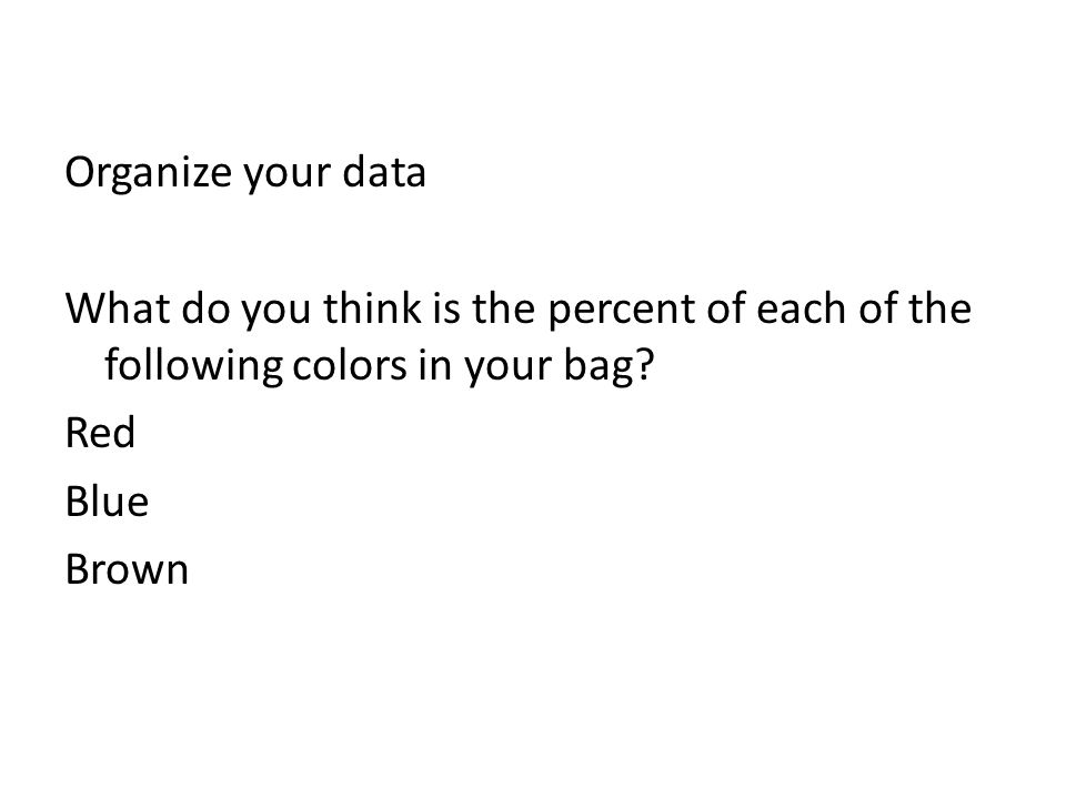 Organize your data What do you think is the percent of each of the following colors in your bag.