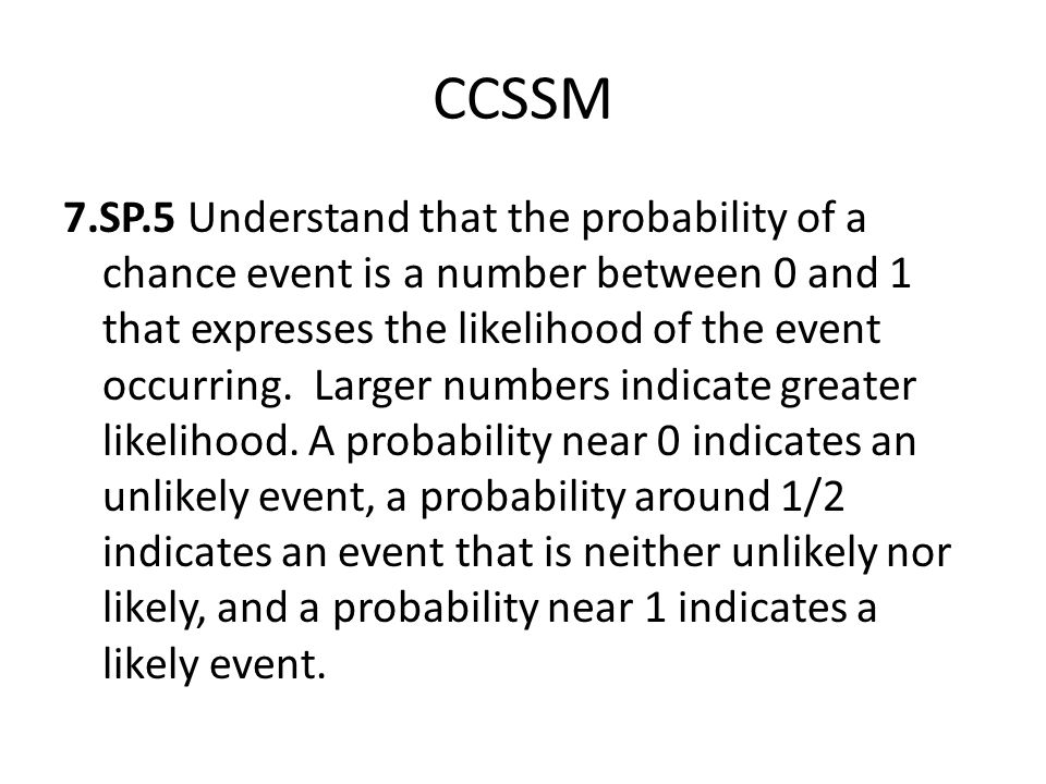 CCSSM 7.SP.5 Understand that the probability of a chance event is a number between 0 and 1 that expresses the likelihood of the event occurring.