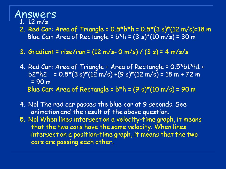 Answers 1.12 m/s 2.Red Car: Area of Triangle = 0.5*b*h = 0.5*(3 s)*(12 m/s)=18 m Blue Car: Area of Rectangle = b*h = (3 s)*(10 m/s) = 30 m 3.Gradient
