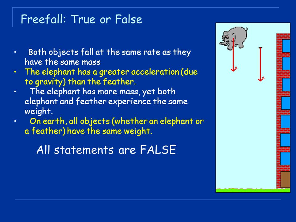 Both objects fall at the same rate as they have the same mass The elephant has a greater acceleration (due to gravity) than the feather.