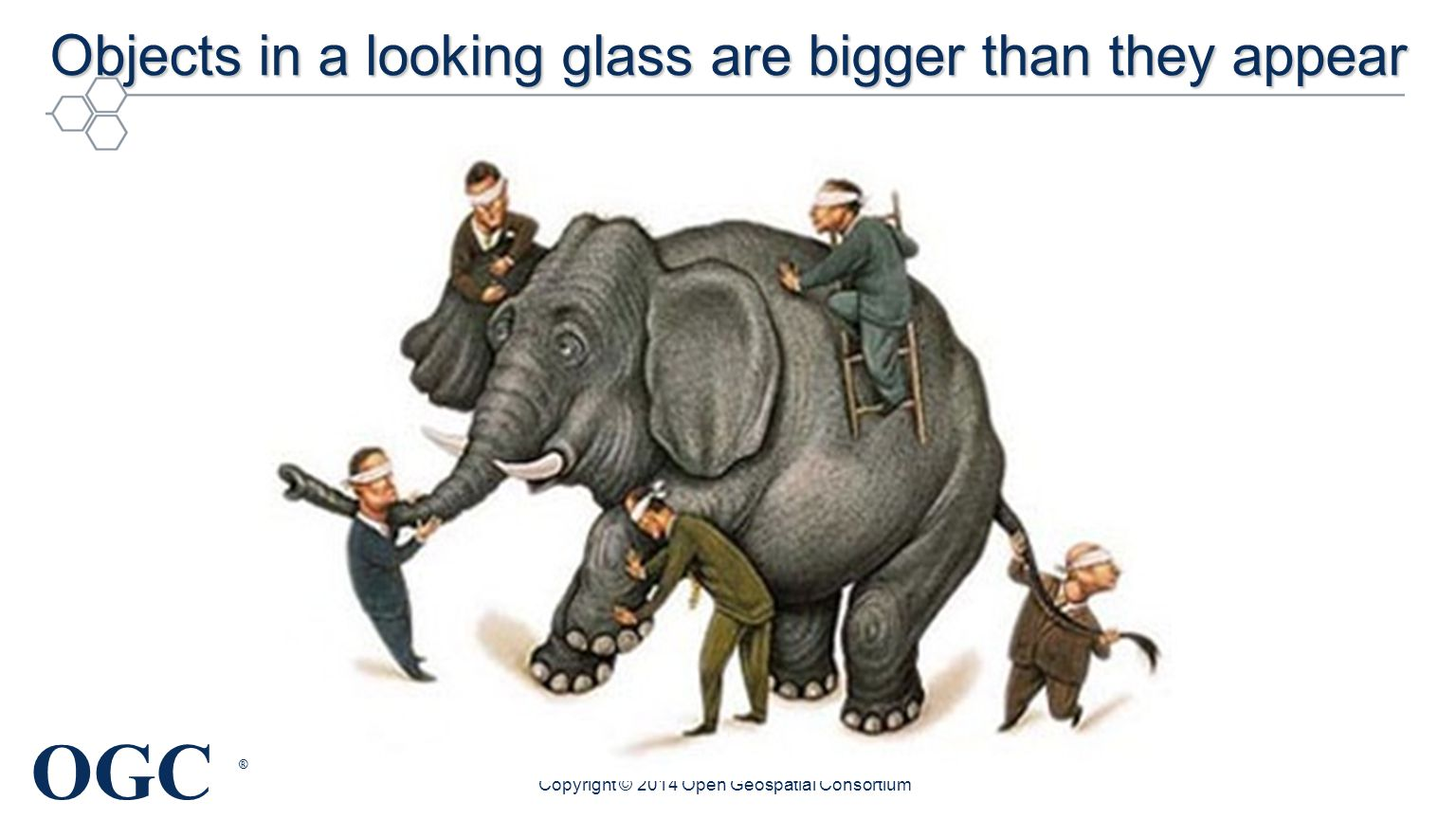 OGC ® Objects in a looking glass are bigger than they appear Copyright © 2014 Open Geospatial Consortium