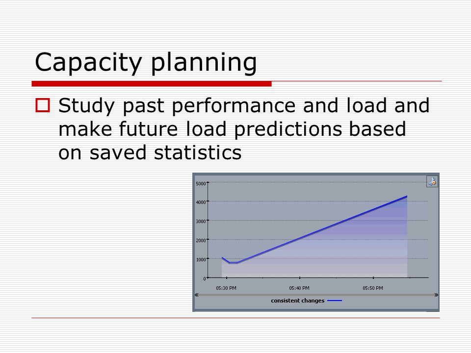 Capacity planning  Study past performance and load and make future load predictions based on saved statistics