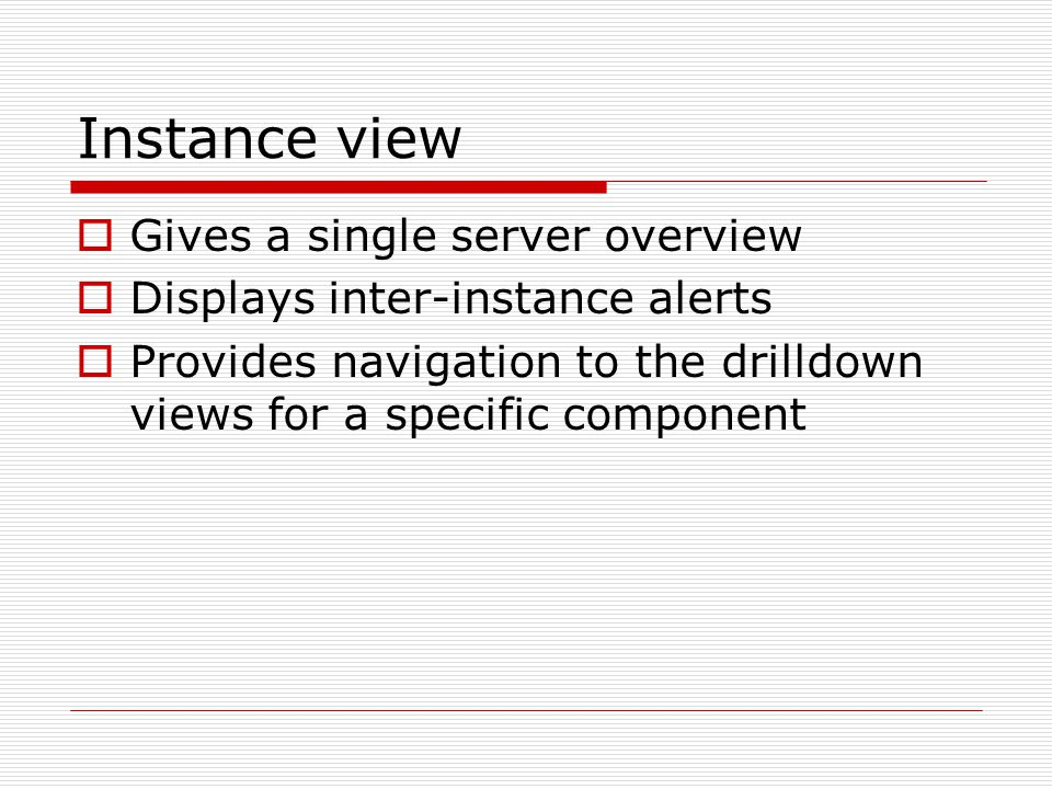 Instance view  Gives a single server overview  Displays inter-instance alerts  Provides navigation to the drilldown views for a specific component