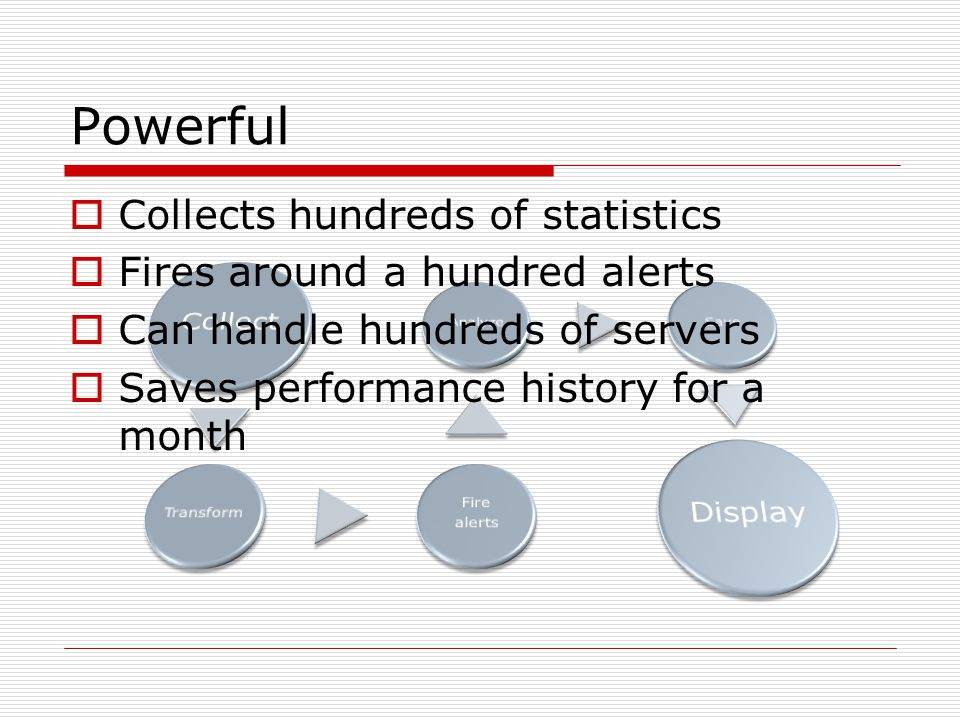 Powerful  Collects hundreds of statistics  Fires around a hundred alerts  Can handle hundreds of servers  Saves performance history for a month