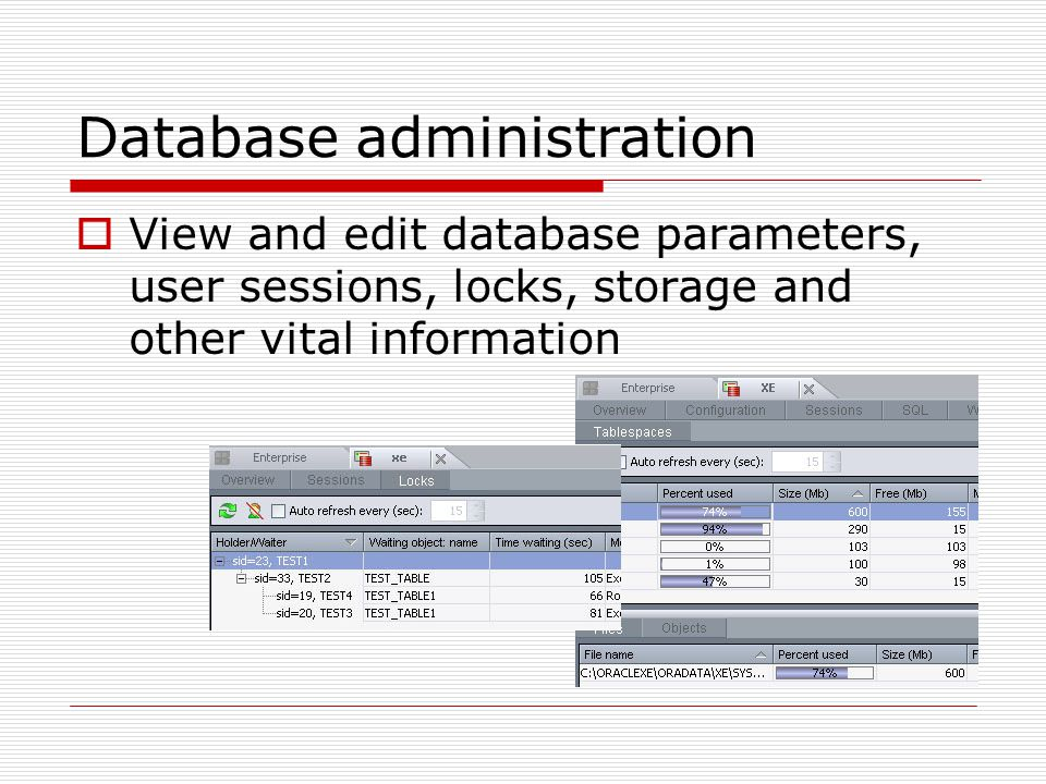  View and edit database parameters, user sessions, locks, storage and other vital information Database administration
