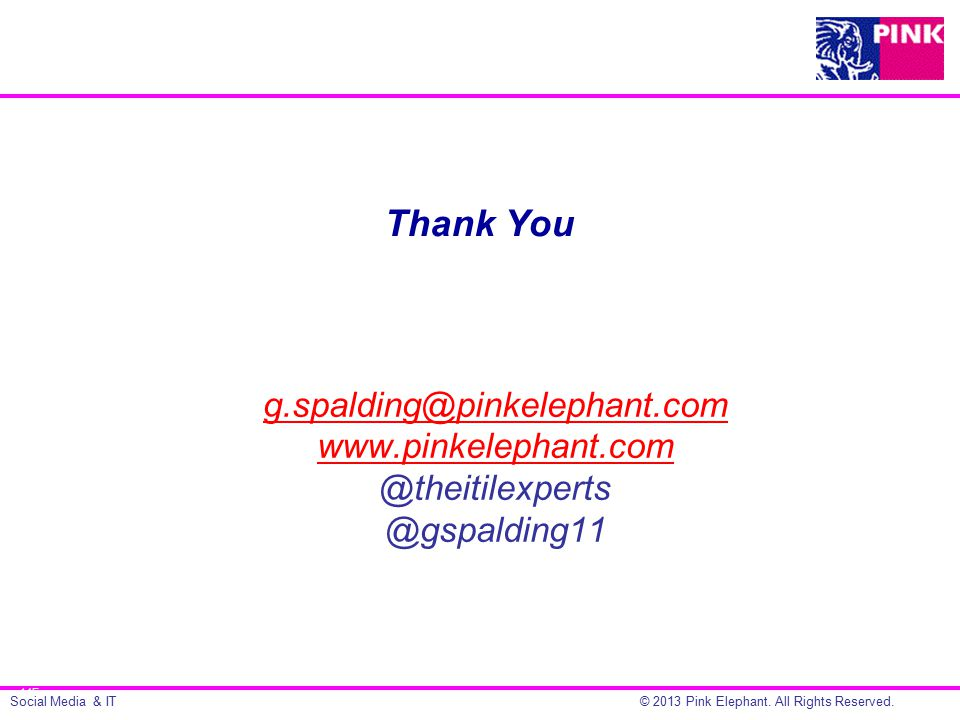 Social Media & IT© 2013 Pink Elephant. All Rights Reserved.