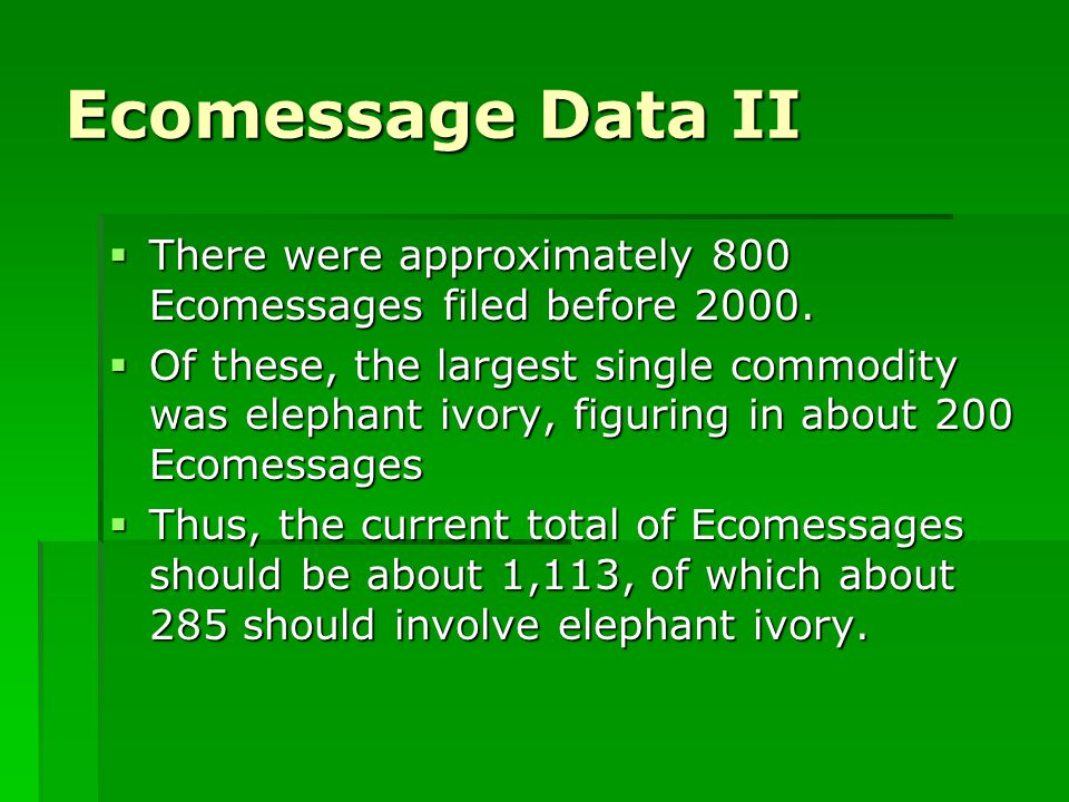 Ecomessage Data II  There were approximately 800 Ecomessages filed before 2000.