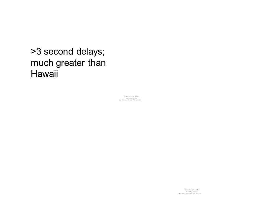 >3 second delays; much greater than Hawaii