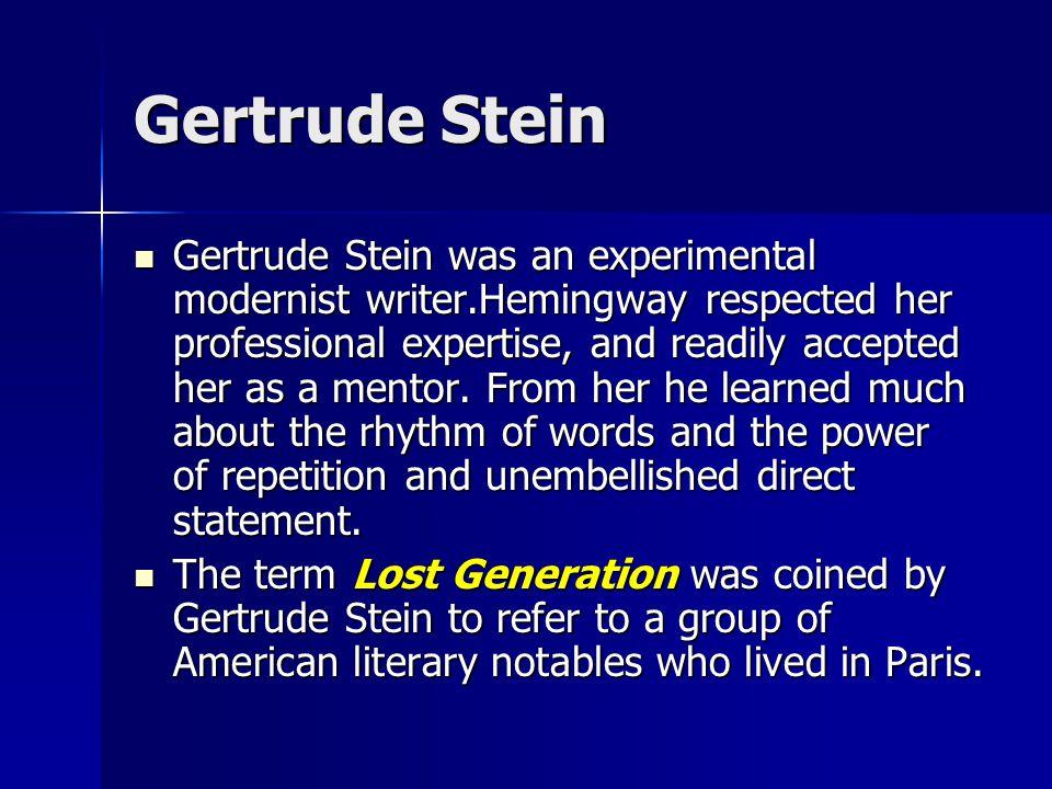 Literary Relationships Gertrude Stein Gertrude Stein Ezra Pound Ezra Pound F. Scott Fitzgerald F. Scott Fitzgerald