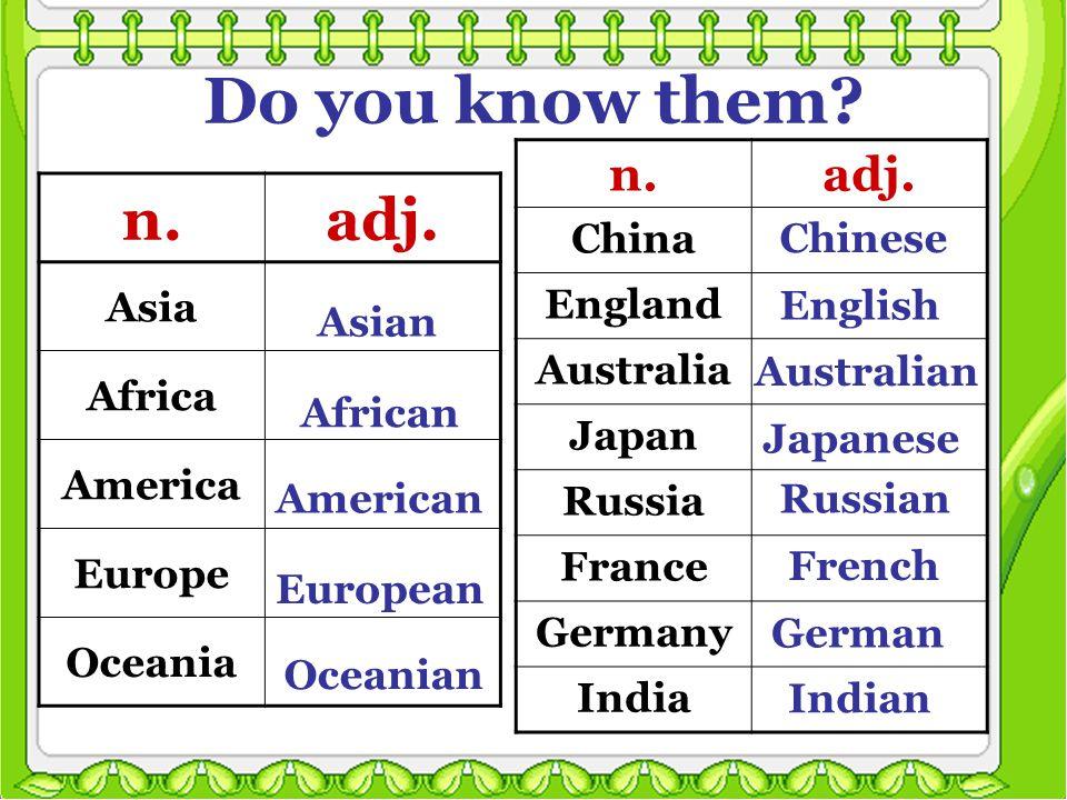 Do you know them. n.adj. Asia Africa America Europe Oceania n.adj.