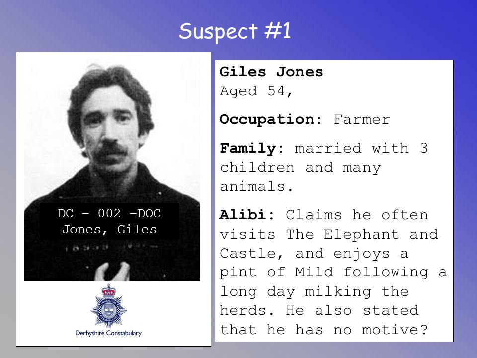 Suspect #1 Giles Jones Aged 54, Occupation: Farmer Family: married with 3 children and many animals. Alibi: Claims he often visits The Elephant and Ca