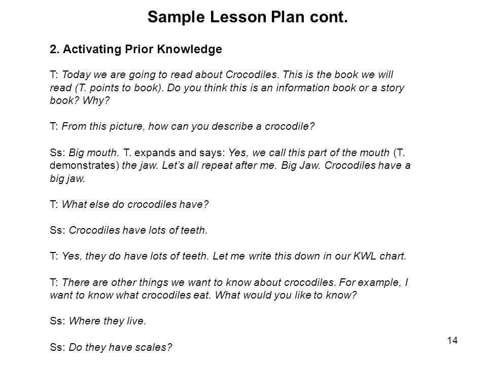 14 Sample Lesson Plan cont. 2.