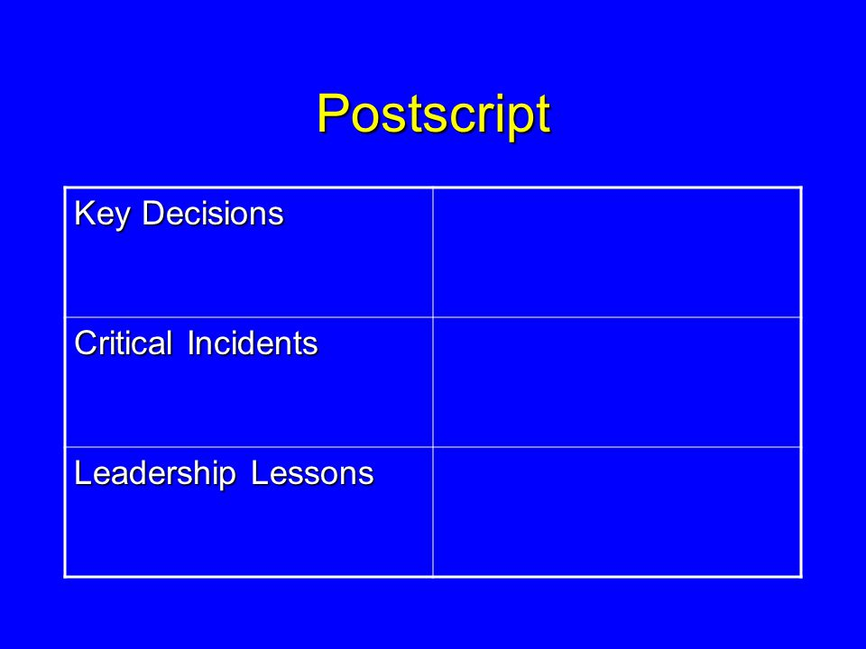 Postscript Key Decisions Critical Incidents Leadership Lessons
