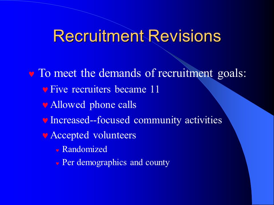 Recruitment Process Contact letter—invitation to participate Three attempts for home contact Alternate: daytime, evening, weekend First attempt—door-hanger with business card Second attempt—add happy Two attempts either home or phone contact May suspend efforts after five attempts