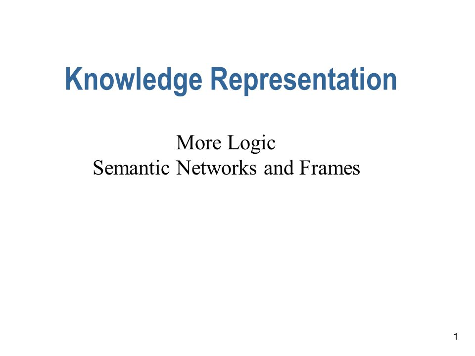 12 Other Knowledge Representation Methods Logic isn't the only method of representing knowledge.