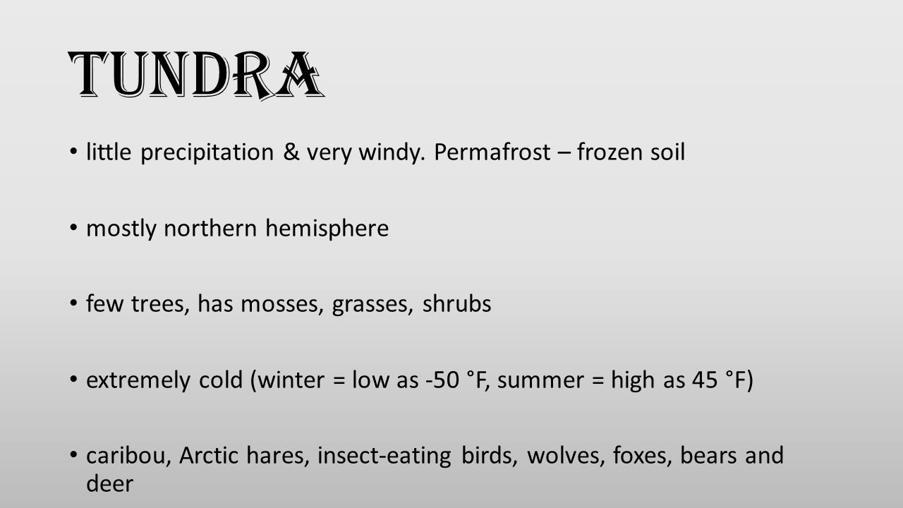 little precipitation & very windy. Permafrost – frozen soil mostly northern hemisphere few trees, has mosses, grasses, shrubs extremely cold (winter =