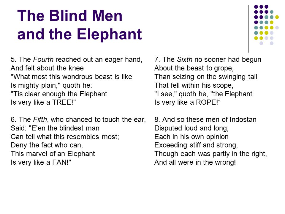 The Blind Men and the Elephant 5.