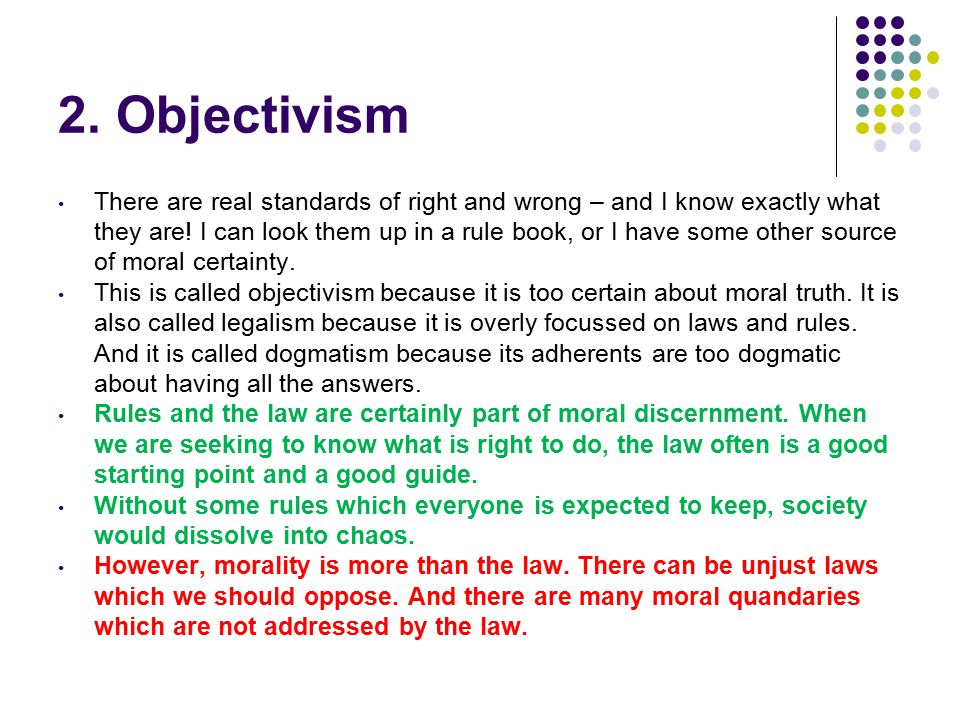 2. Objectivism There are real standards of right and wrong – and I know exactly what they are.