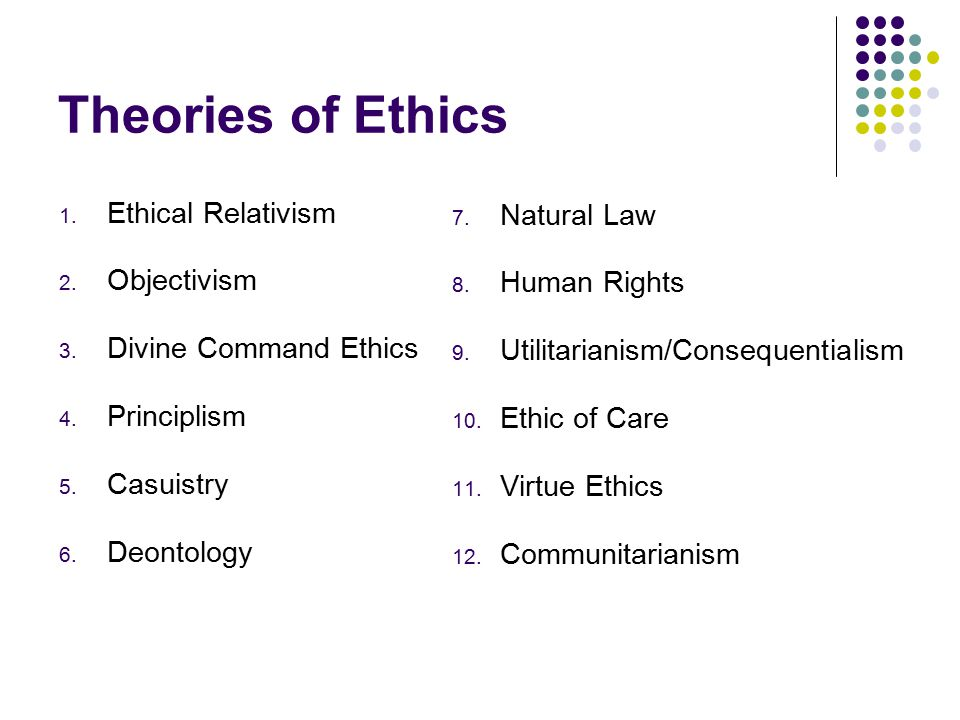 Theories of Ethics 1. Ethical Relativism 2. Objectivism 3.