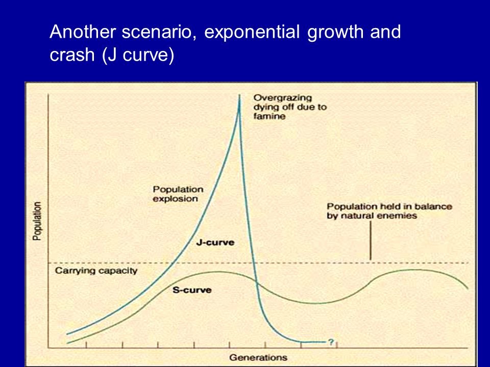 Another scenario, exponential growth and crash (J curve)
