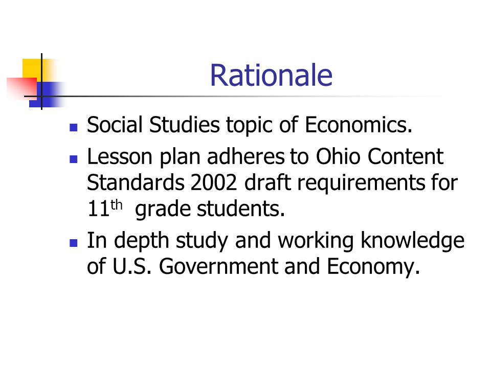 Rationale Social Studies topic of Economics.