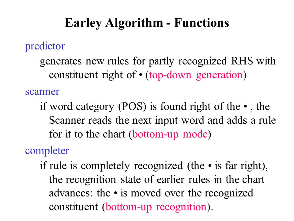 Earley Algorithm - Functions predictor generates new rules for partly recognized RHS with constituent right of (top-down generation) scanner if word category (POS) is found right of the, the Scanner reads the next input word and adds a rule for it to the chart (bottom-up mode) completer if rule is completely recognized (the is far right), the recognition state of earlier rules in the chart advances: the is moved over the recognized constituent (bottom-up recognition).