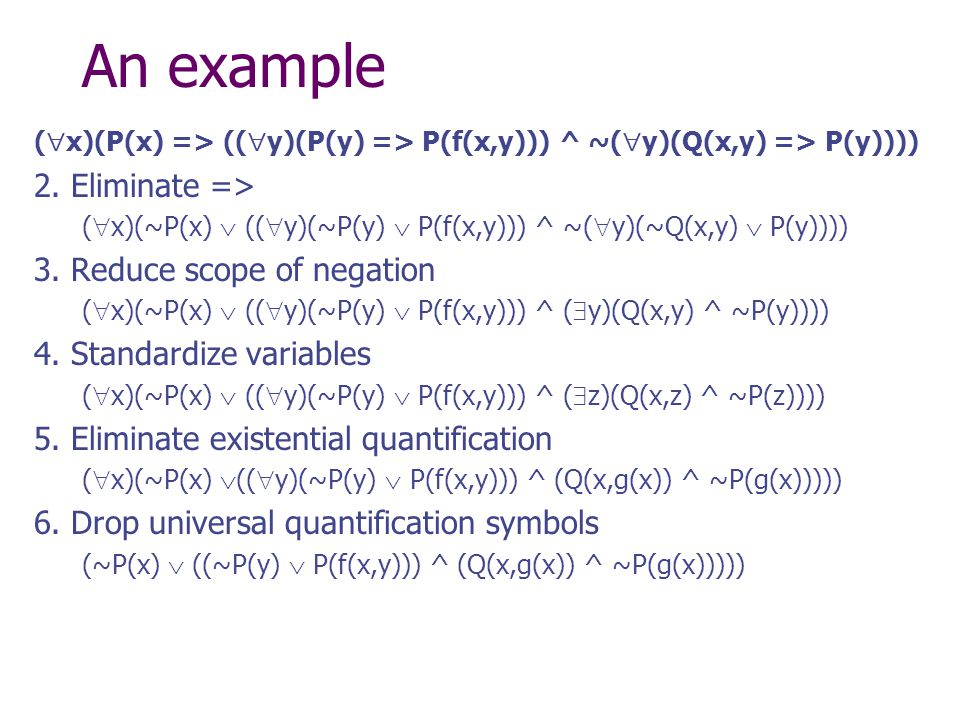 An example (  x)(P(x) => ((  y)(P(y) => P(f(x,y))) ^ ~(  y)(Q(x,y) => P(y)))) 2.