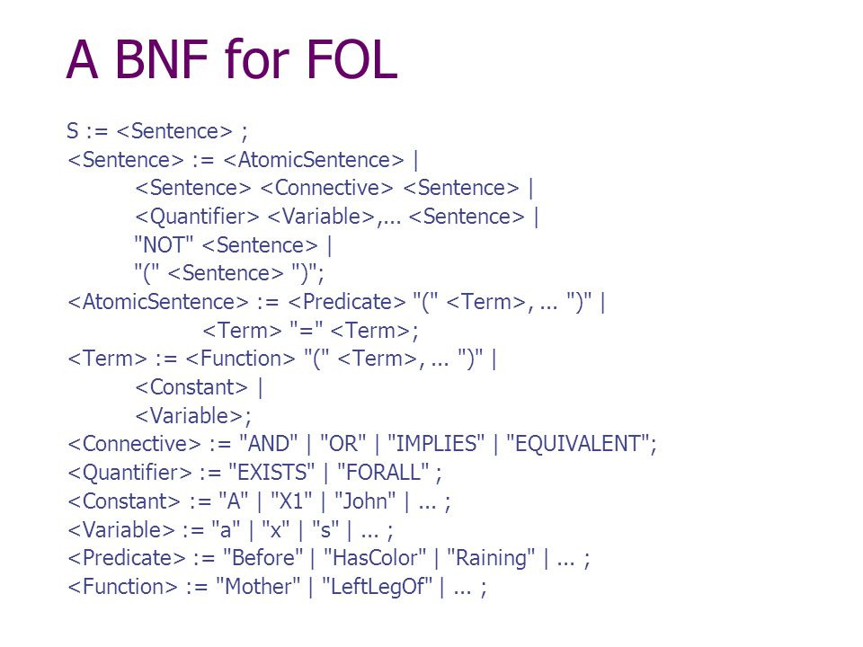 A BNF for FOL S := ; := | |,... |