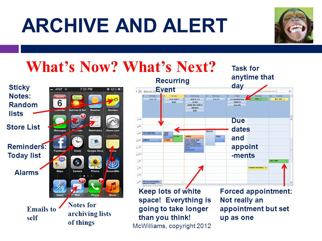 ARCHIVE AND ALERT McWilliams, copyright 2012 Alarms Recurring Event Due dates and appoint -ments Task for anytime that day Sticky Notes: Random lists