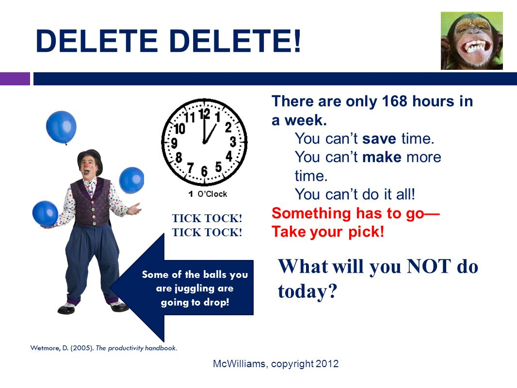 DELETE DELETE. McWilliams, copyright 2012 There are only 168 hours in a week.