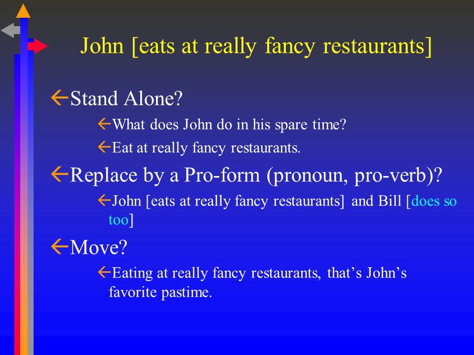 John [eats at really fancy restaurants]  Stand Alone.