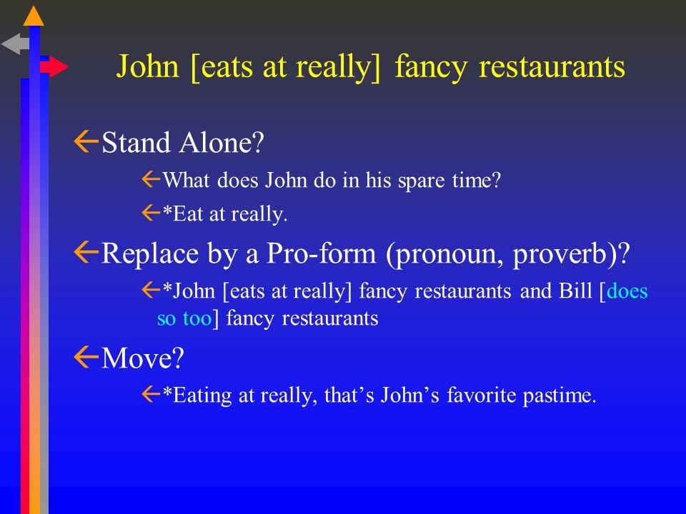 John [eats at really] fancy restaurants  Stand Alone.