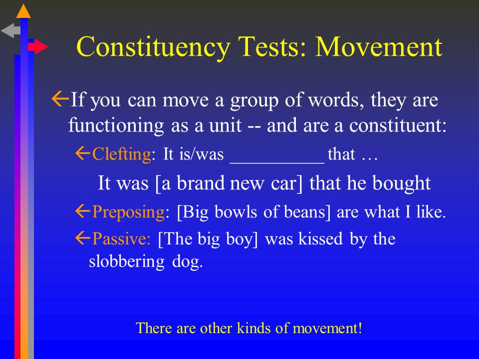 Constituency Tests: Movement  If you can move a group of words, they are functioning as a unit -- and are a constituent:  Clefting: It is/was __________ that … It was [a brand new car] that he bought  Preposing: [Big bowls of beans] are what I like.