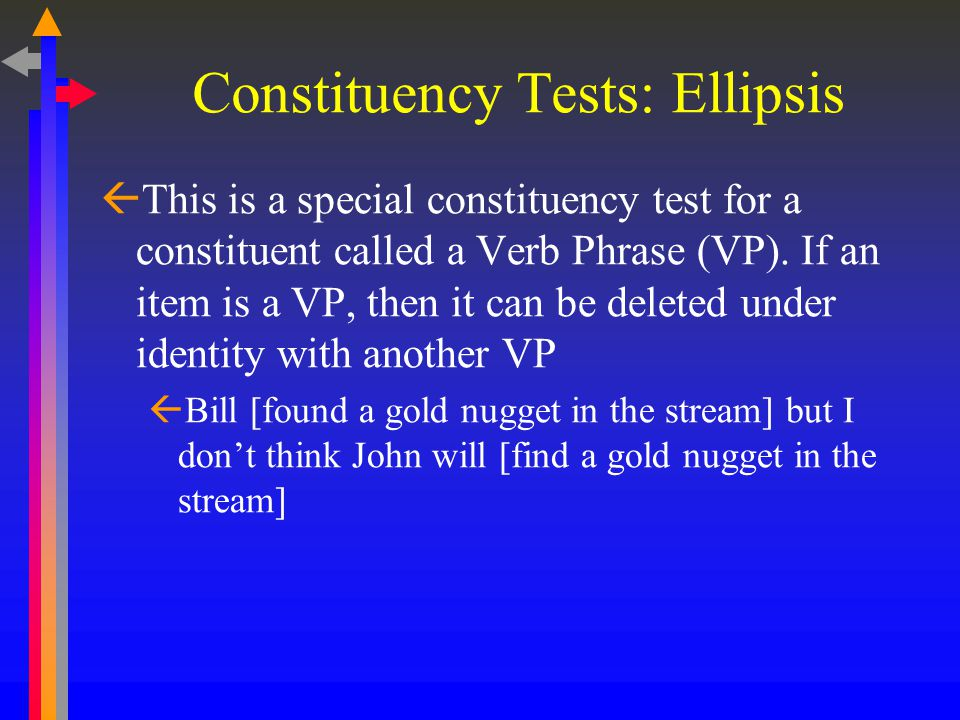 Constituency Tests: Stand Alone (sentence fragment)  Can the group of words serve as a sentence fragment in response to a question.