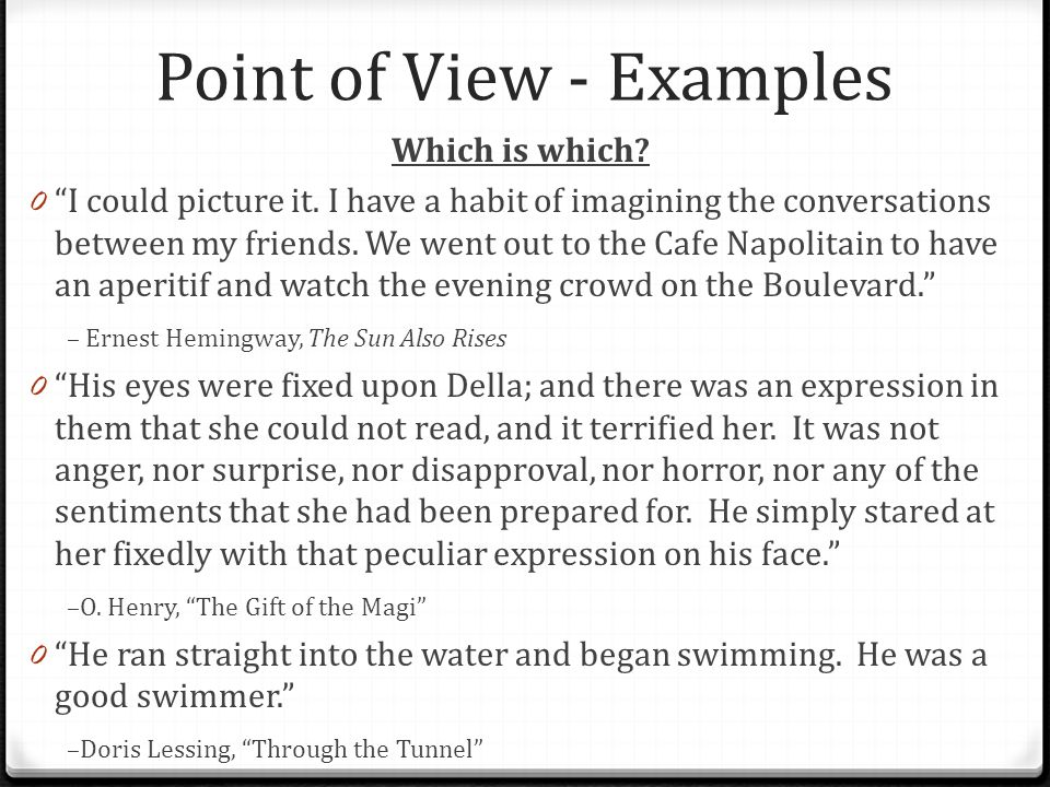 Point of View - Examples Which is which. 0 I could picture it.