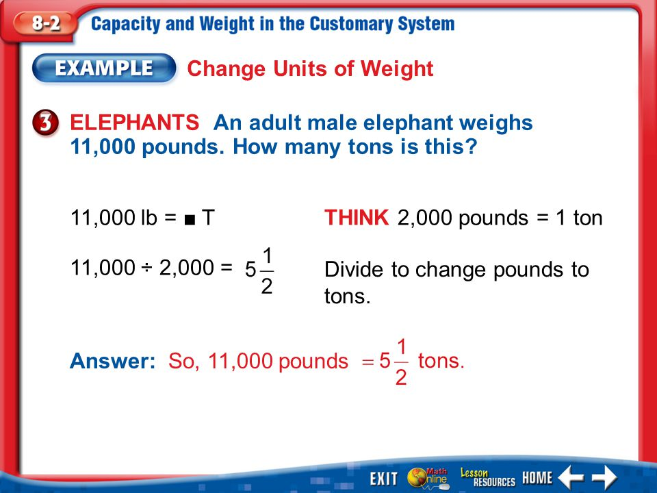 Example 3 Change Units of Weight ELEPHANTS An adult male elephant weighs 11,000 pounds. How many tons is this? 11,000 lb = ■ TTHINK 2,000 pounds = 1 t
