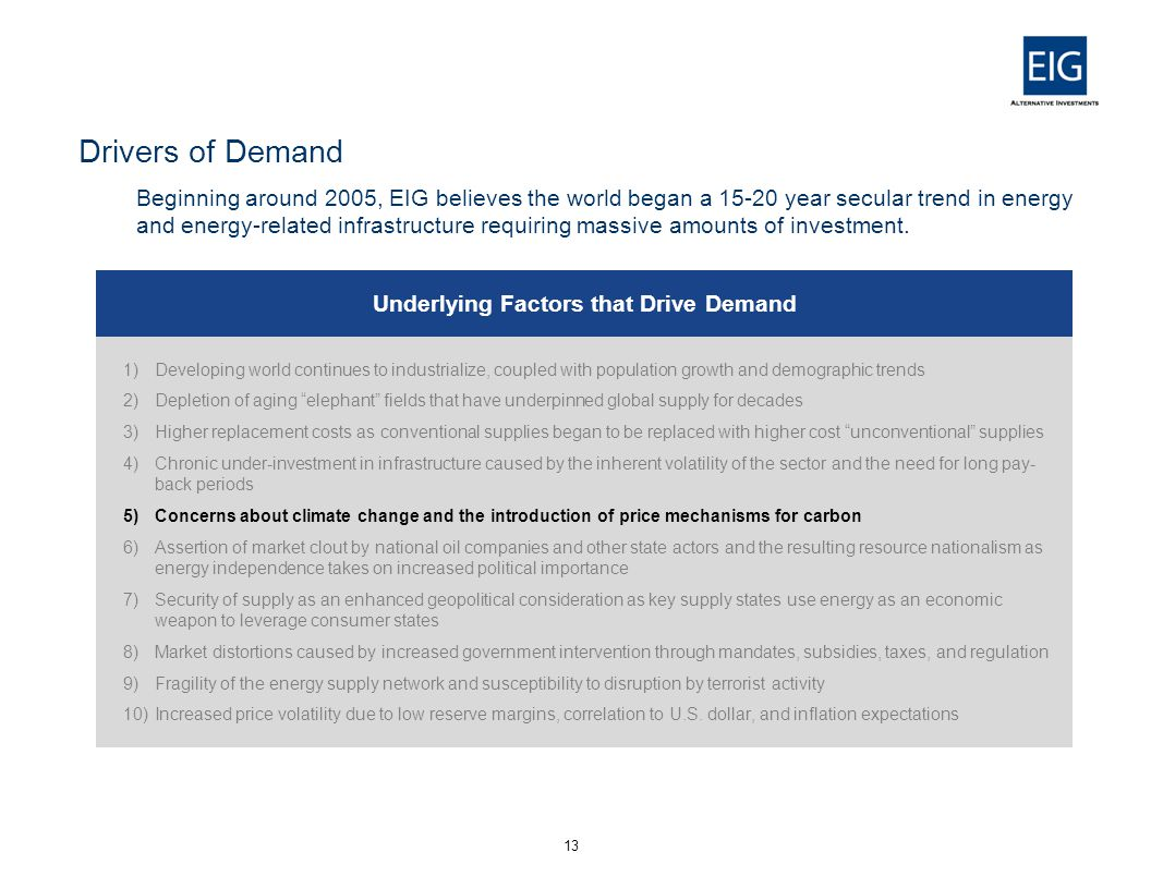 Drivers of Demand Beginning around 2005, EIG believes the world began a 15-20 year secular trend in energy and energy-related infrastructure requiring massive amounts of investment.