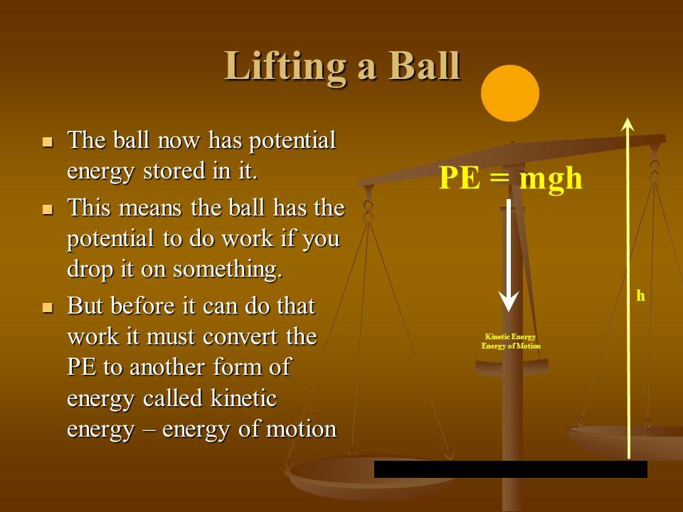 Lifting a Ball When you lift a ball to a certain height you do work on it. When you lift a ball to a certain height you do work on it. This work (W) i